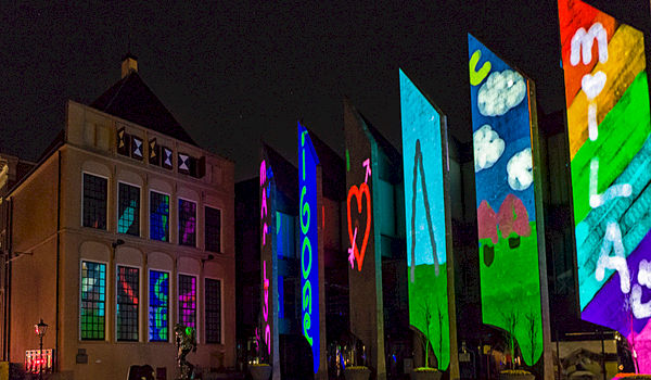 Digitale creativiteit door Showdesign op stadhuis Zwolle