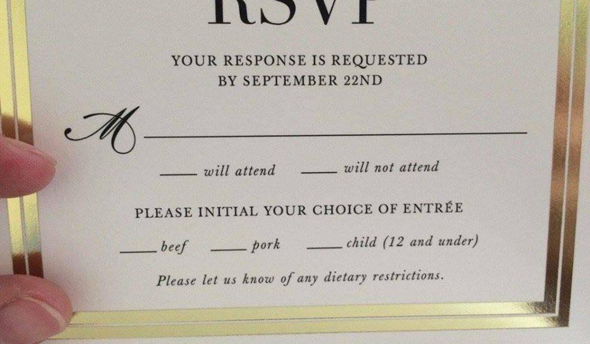 Fancy trouwuitnodiging zet per ongeluk 39 kinderen 39 op het menu - Ontwerp voorgerecht ...